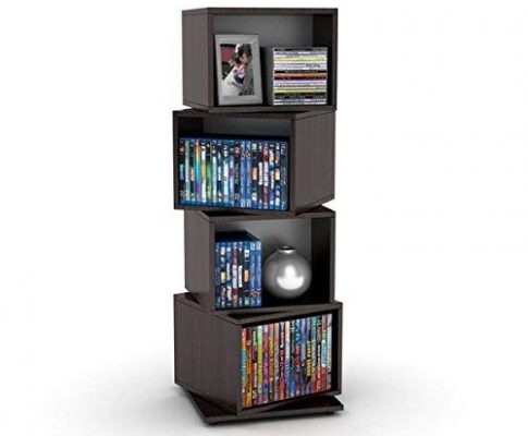 Media Storage Tower for CDs/DVDs Features Four Rotating Cubes, Adjustable Shelves, Space-saving Storage and Non-marring Rubber Feet, Wood Grain Finish, Perfect for Home's Interior Review