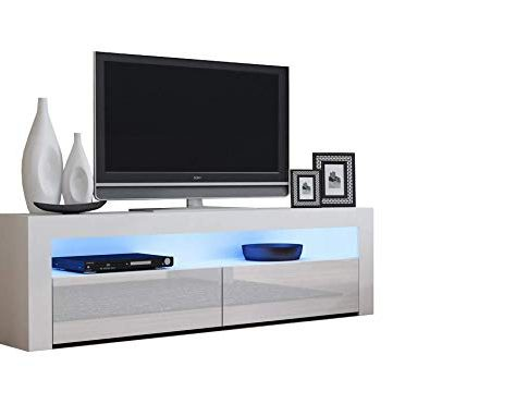 TV Console Milano Classic White – up to 70-inch Flat TV Screens – Multicolor 16 RGB LED Light System and High Gloss Finish Front Doors – Mesa TV Milano para televisores Hasta 70 pulgadas Review