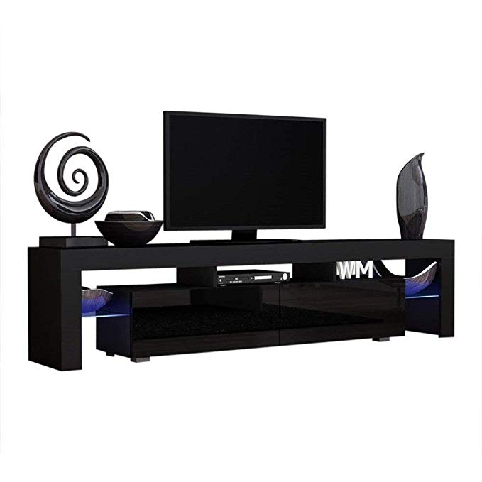 Concept Muebles TV Stand Milano 200 Black Body/Modern LED TV Cabinet/Living Room Furniture/Tv Cabinet fit for up to 90-inch TV Screens/High Capacity Tv Console for Modern Living Room (Black & Black)