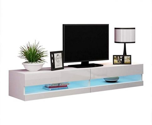 Concept Muebles 80 Inch Seattle High Gloss LED TV Stand – White Review