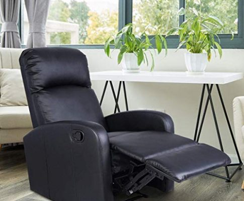 Giantex Manual Recliner Chair Black Lounger Leather Sofa Seat Home Theater (Style 1) Review