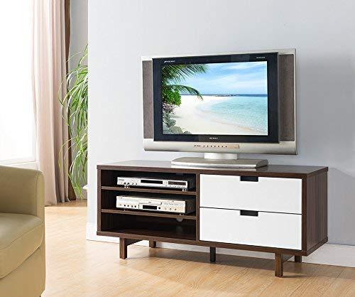 Smart home 161478 Entertainment Console TV Stand (47 Inch, Dark Walnut & Glossy White)
