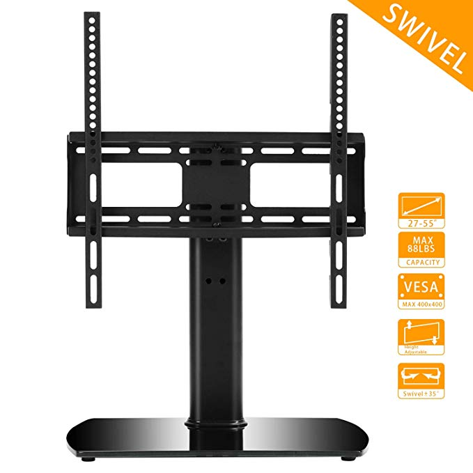 Rfiver Universal Swivel Tabletop TV Stand with Mount for 27 32 37 42 47 55 inch LED,LCD and Plasma Flat Screen TVs with Height Adjustment VESA 400x400mm, UT2002