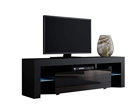 TV Stand MILANO 160 Black- TV Cabinet with LEDs – Living Room Furniture – TV Console for up to 70″ TV screens – TV stand with LED lights (Black & Black) Review