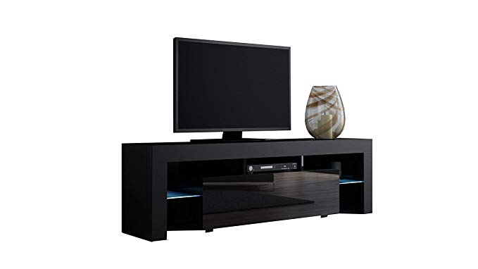 TV Stand MILANO 160 Black- TV Cabinet with LEDs - Living Room Furniture - TV Console for up to 70