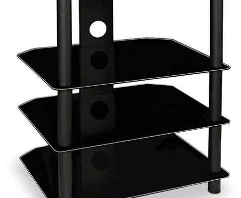 Mount-It! AV Component Media Stand, Glass Shelves, Audio Video Components, Storage for Xbox, Playstation, Speakers, Cable Boxes, 88 Lb Load Capacity, Black Silk (Mi-867) Review