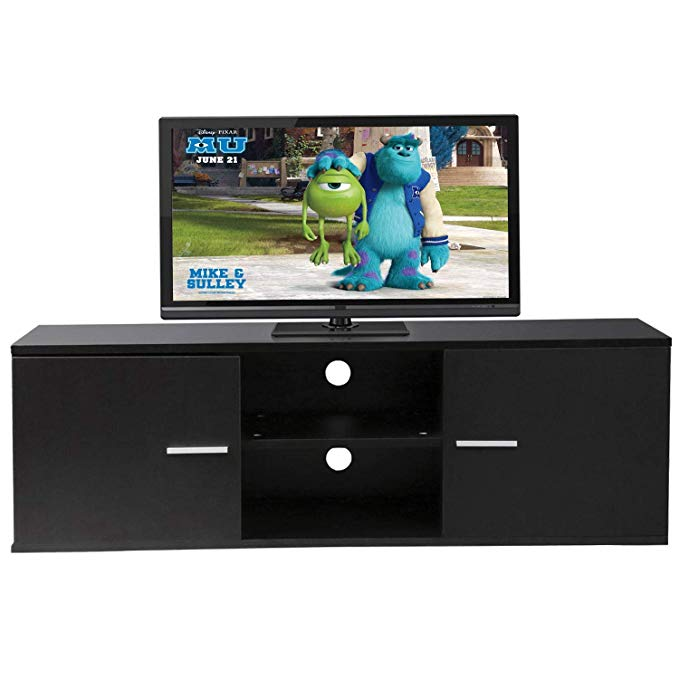 Rfiver Modern TV Stand Wood Storage Console Entertainment Center w/ 2 Doors and Shelves Black Finish