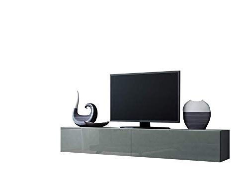 Concept Muebles Seattle Floating TV Cabinet – TV Stand with High Gloss Fronts – Seattle Hanging TV Console (Large, Grey) Review
