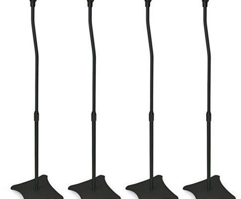 Mount-It! MI-1214 Speaker Stands for Home Theater 5.1 Channel Surround Sound System Satellite Speaker Stands Mounts, Rear and Front, 2 Pairs, 10 lb Capacity, Black Review