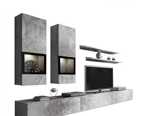 Duros Entertainment Center/Contemporary Design Wall Unit/with or Without Multicolor LED Lighting System (Concrete) Review