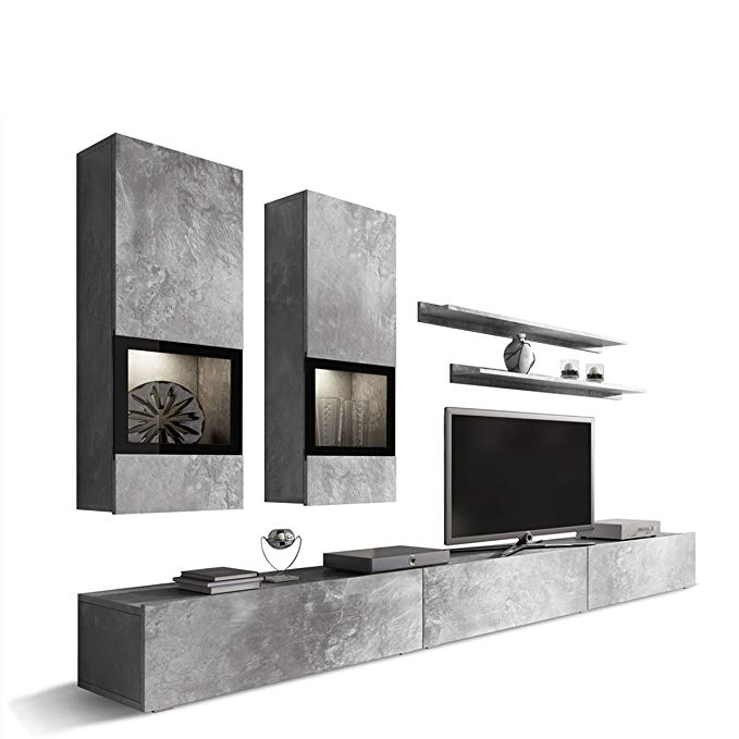 Duros Entertainment Center/Contemporary Design Wall Unit/with or Without Multicolor LED Lighting System (Concrete)