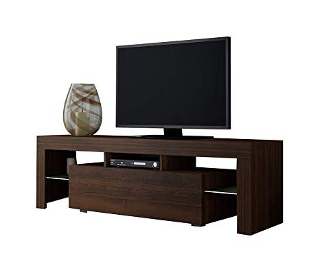 Concept Muebles TV Stand Milano 160 White line/Modern LED TV Cabinet/Living Room Furniture/Tv Console fit for up to 70″ Flat TV Screens/Capacity Tv Console for Modern Living Room (Walnut & Walnut) Review