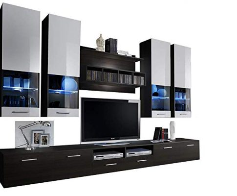 Montreal Modern Wall Unit/Entertainment Center/Unique Contemporary Design/LED Lights/High Capacity Storage (Wengue and White) Review