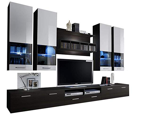 Montreal Modern Wall Unit/Entertainment Center/Unique Contemporary Design/LED Lights/High Capacity Storage (Wengue and White)