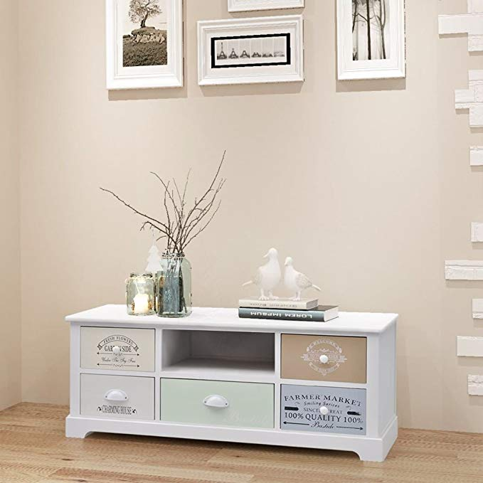 Daonanba TV/Hi-Fi Stand Side Cabinet with 5 Drawers Durable Storage Cabint Low Cabinet Beautiful Home Furniture Decoration Living Room Decor