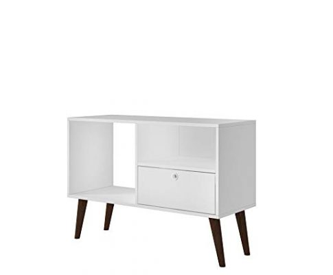 Manhattan Comfort Bromma Collection Mid Century Modern TV Stand With Open Cubby Space and One Drawer With Splayed Legs, White Review