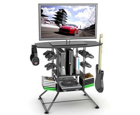 Centipede Game Storage and TV Stand with Black Carbon Fiber Top and Black Steel Review