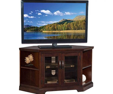 Chocolate Cherry & Bronze Glass 46″ Corner TV Stand wt Bookcase Review