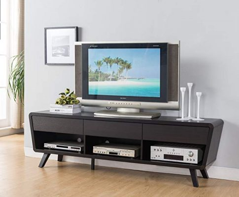 Smart home 74″ Alexa Contemporary TV Stand Home Entertainment System Collection (Red Cocoa) Review