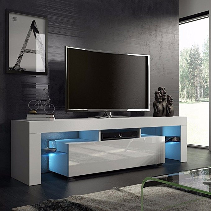 GOGOUP Fashionable Design TV Stand Home Living Room LED TV Cabinet Decorative Entertainment Center Media Console Furniture High Gloss White