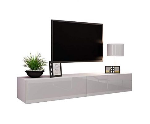 "Concept Muebles Seattle TV Stand 180 – TV Cabinet with High Gloss Fronts – Hanging TV Console for up to 80"" TVs (White) Review"