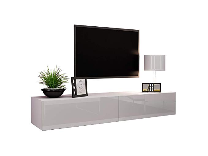 "Concept Muebles Seattle TV Stand 180 – TV Cabinet with High Gloss Fronts - Hanging TV Console for up to 80"" TVs (White)"