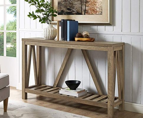 Home Accent Furnishings New 52 Inch Wide A-Frame Entry Table – Rustic Oak Finish Review