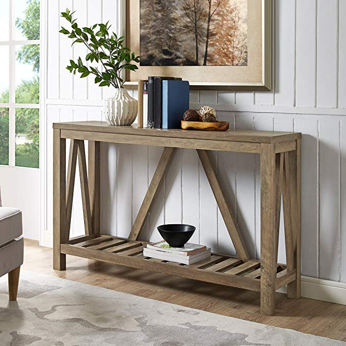 Home Accent Furnishings New 52 Inch Wide A-Frame Entry Table - Rustic Oak Finish