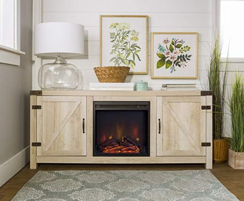 Home Accent Furnishings New 58 Inch Barn Door Fireplace Television Stand – White Oak Color Review