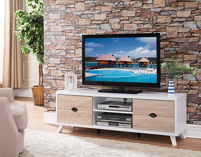 Smart home 151281 Entertainment Center TV Stand (White)