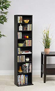 Tall Media Storage Tower with Adjustable Shelves in Espresso Finish Review