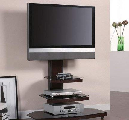 TV Stand Tiered Media Console with Bracket in Dark Wood Base Review