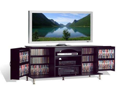 Broadway Black Large Flat Screen Plasma or LCD TV Stand Media Storage Cabinet Entertainment Center with Doors Review