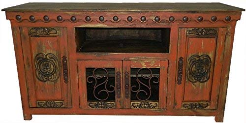 Hi End Rustic Medieval Hand Scrape TV Stand Available in 5 Colors (72 inch Long, Red)