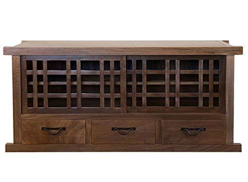 Tansu TV Cabinet, Solid Walnut Cabinet, Sliding Doors, Large drawers, 65