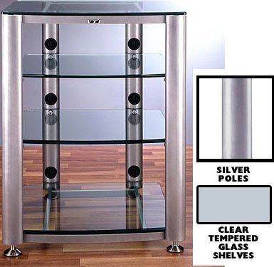 VTI HGR404 4 Shelf Glass Audio Cabinet/Rack – Silver/Clear Review