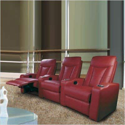 3 Seated Home Theater with Adjustable Headrest Red Leather Review