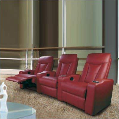 3 Seated Home Theater with Adjustable Headrest Red Leather