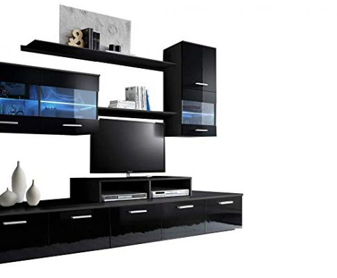 Paris Contemporary Design 74.8×98.4×17.7-Inch Wall Unit with LED, Black Review