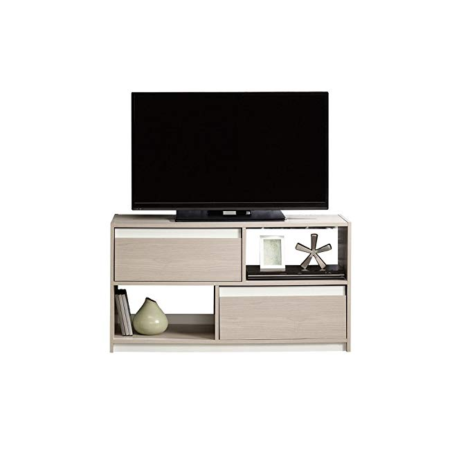 Sauder 417119 Square 1 TV Stand, Grey Ash Finish, Holds up to a 47