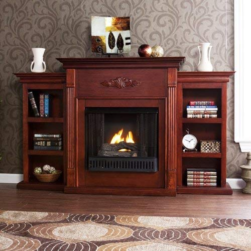 42'' Electric Fireplace LED Light with Book Shelf, TV/Media Stand, Mahogany