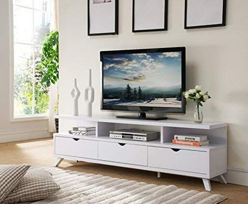 Smart home 151280WH 75″ TV Stand Entertainment Center in White Review