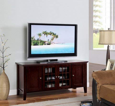 Dark Cherry Finish Wooden Media Console 55 Inch Flat Screen TV Stand Storage Cabinet with Doors