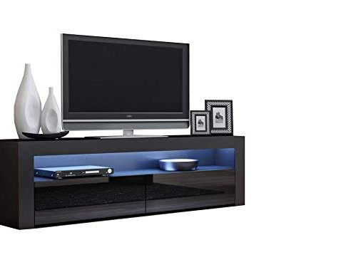 TV Console Milano Classic Black – up to 70-inch Flat TV Screens – Multicolor 16 RG LED Light System and High Gloss Finish Front Doors – Mesa TV Milano para televisores Hasta 70 pulgadas (Black) Review