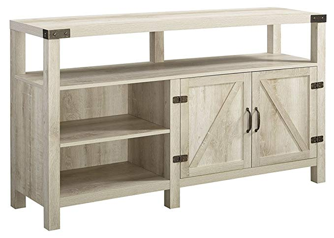 Home Accent Furnishings New 58 Inch Wide Barndoor Highboy Television Stand in White Oak Finish