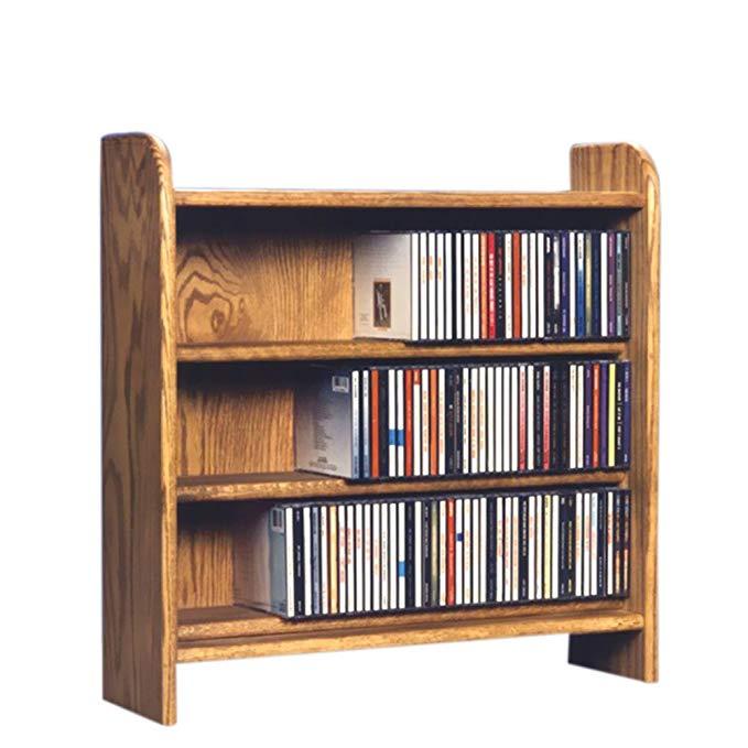 Cdracks Media Furniture Solid Oak 3 Shelf CD Cabinet Maximum Capacity 220 CD's Honey Finish