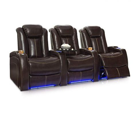 Seatcraft Delta Home Theater Seating Leather Power Recline, Powered Headrests, and Built-in SoundShaker (Row of 3, Brown) Review