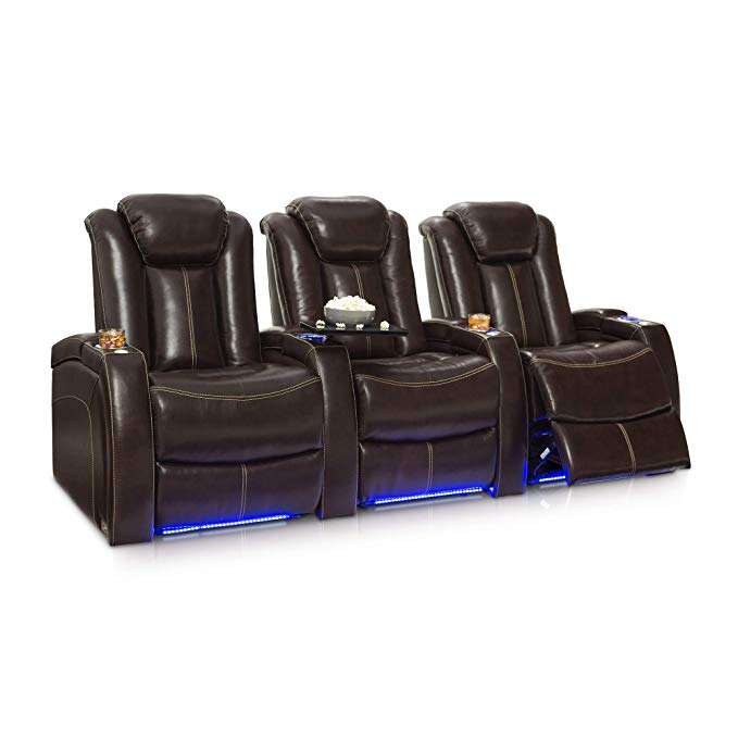 Seatcraft Delta Home Theater Seating Leather Power Recline, Powered Headrests, and Built-in SoundShaker (Row of 3, Brown)
