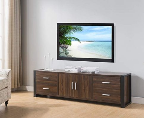 Smart home 161483 Entertainment Console TV Stand (60 Inch, Dark Walnut & Black) Review