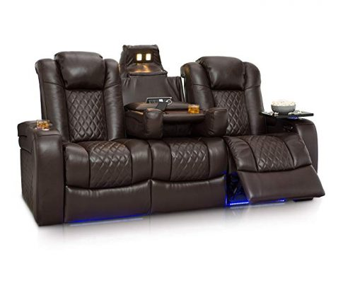 Seatcraft Anthem Home Theater Seating Leather Multimedia Power Recline Sofa with Fold-Down Table, Adjustable Powered Headrests, Storage, AC/USB and Wireless Charging and Cup Holders, Brown Review